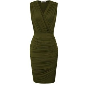Ruched Wrap Party Pencil Dress